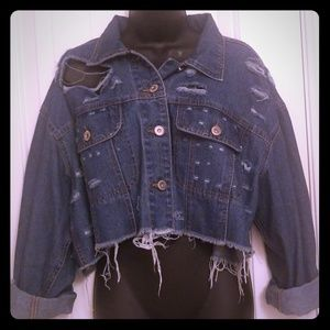 Fashion Nova Distressed Denim Half Jacket